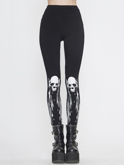 Devil Fashion Black Gothic Punk Skull Pattern Long Legging for Women