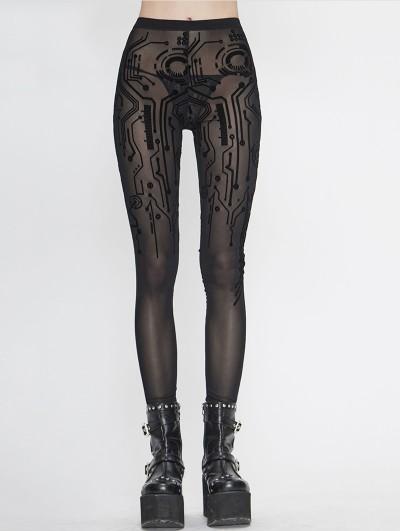 Devil Fashion Black Gothic Sexy Transparent Net Legging for Women