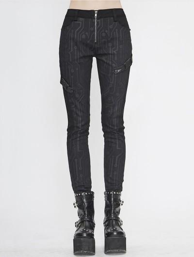 Devil Fashion Black Gothic Punk Long Slim Trousers for Women