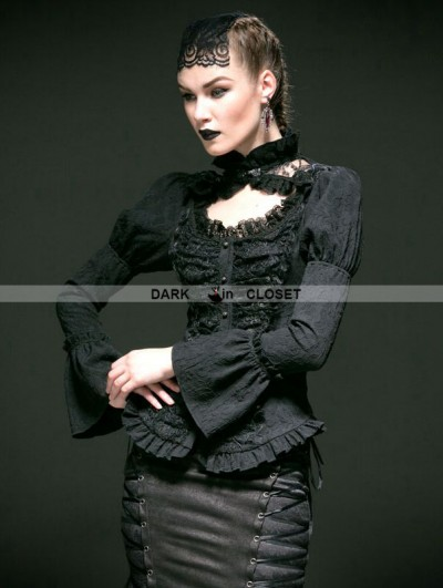 Punk Rave Black Woven Long Sleeves Gothic Blouse for Women