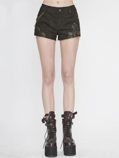 Devil Fashion Brown Steampunk Do Old Shorts for Women