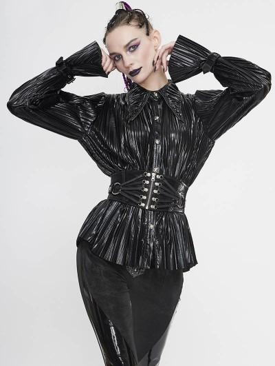 Devil Fashion Black Gothic Punk Long Sleeves Shirt for Women