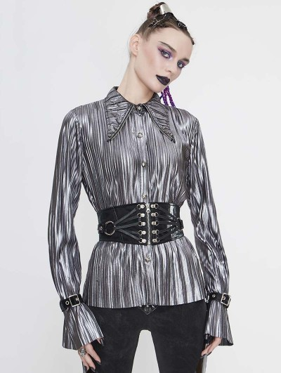 Devil Fashion Silver Gothic Punk Long Sleeves Shirt for Women