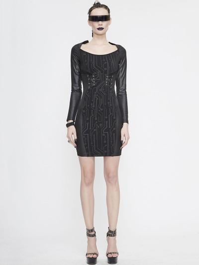 Devil Fashion Black Sexy Gothic Punk Long Sleeve Short Dress