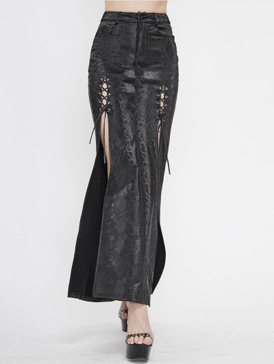 Devil Fashion Black Sexy Gothic Punk High Split Long Skirt