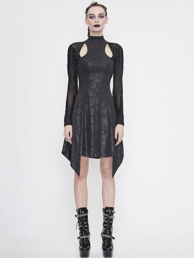 Devil Fashion Black Gothic Hollowed-out Long Sleeve Asymmetrical Dress