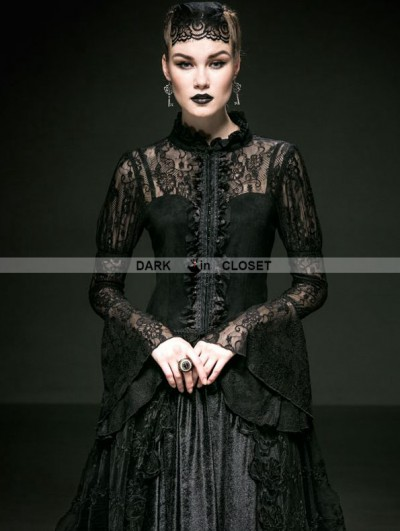 Punk Rave Romantic Black Gothic Lace Blouse for Women
