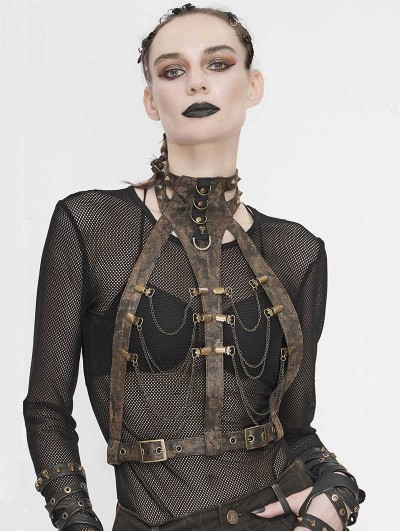 Devil Fashion Brown Steampunk Chain Harness Belt for Women