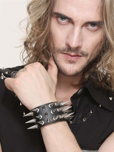 Devil Fashion Black Gothic Punk Rivet PU Leather Bracelet