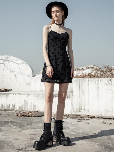 Punk Rave Black Street Fashion Daily Wear Heart Gothic Grunge Short Chiffon Dress