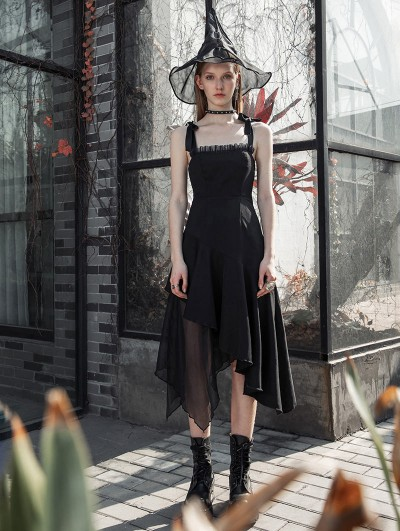 Punk Rave Black Street Fashion Daily Wear Gothic Grunge Irregular Long Dress