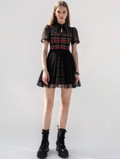 Punk Rave Black and Red Plaid Short Sleeve Daily Wear Gothic Grunge Short Dress