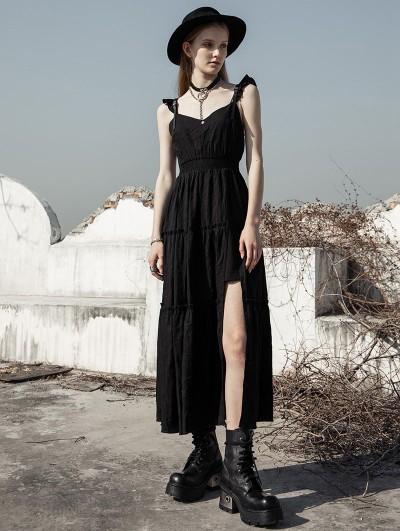 Punk Rave Black Street Fashion Daily Wear Gothic Grunge Long Dress