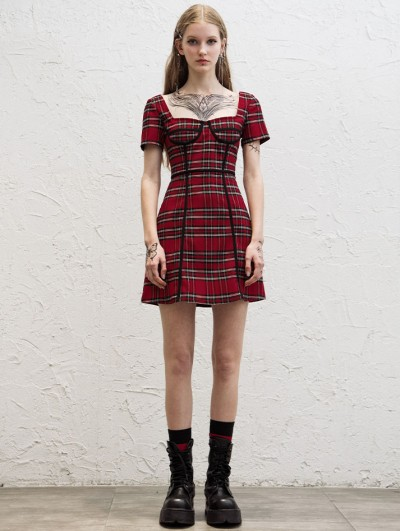 Punk Rave Red Plaid Street Fashion Daily Wear Gothic Grunge Short Dress