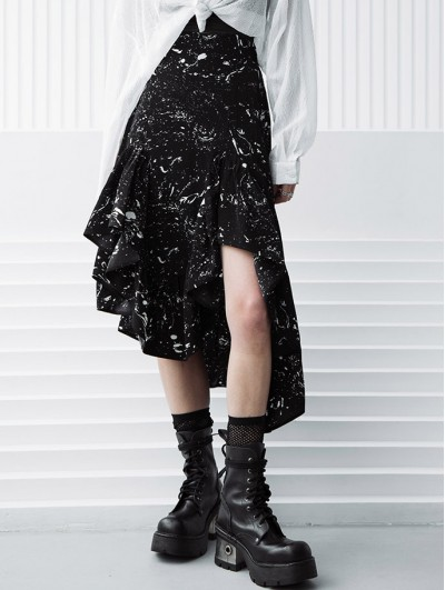Punk Rave Dark Printed Daily Wear Gothic Grunge Irregular Skirt