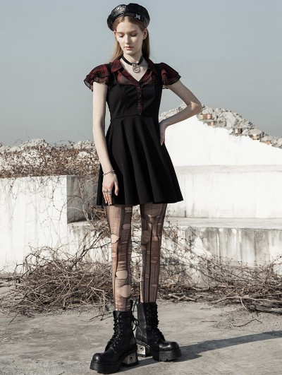 Punk Rave Black and Red Street Fashion Daily Wear Gothic Grunge Short Dress