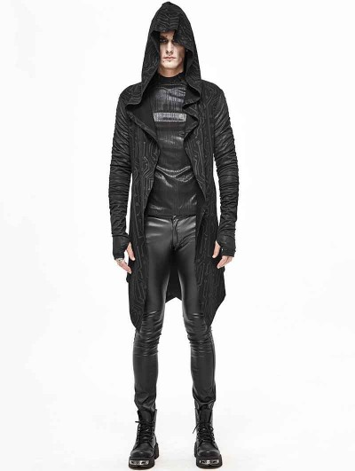 Devil Fashion Black Gothic Punk Hooded Long Trench Coat for Men