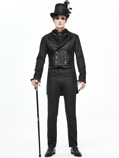 Devil Fashion Black Vintage Gothic Party Double-Breasted Tail Coat for Men