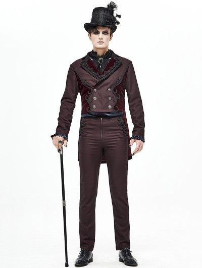 Devil Fashion Dark Red Vintage Gothic Party Double-Breasted Tail Coat for Men