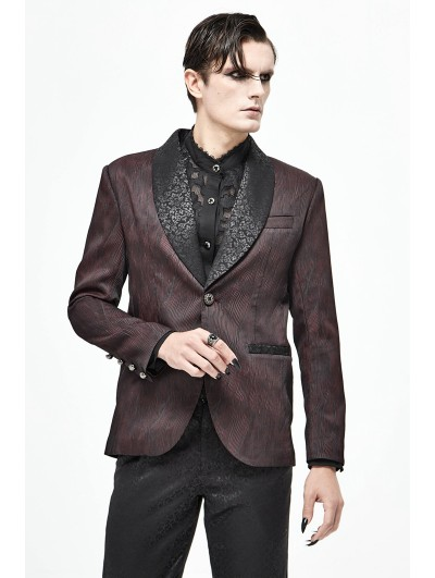 Devil Fashion Dark Red Gothic Wedding Party Suit Jacket for Men