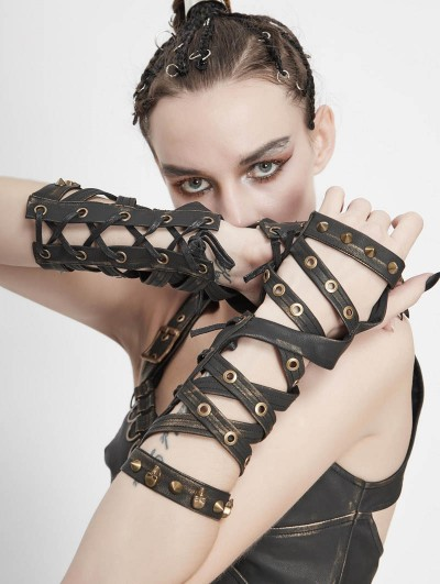 Devil Fashion Brown PU Leather Gothic Punk Unisex Gloves