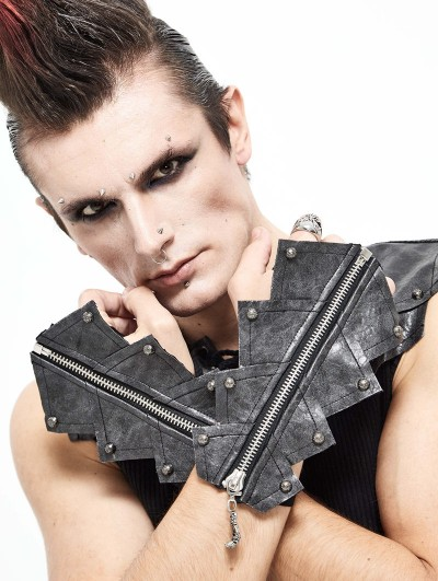 Devil Fashion Sliver PU Leather Gothic Punk Gloves for Men