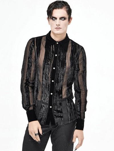 Devil Fashion Black Vintage Gothic Gauze Long Sleeve Shirt for Men