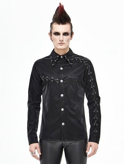 Devil Fashion Black Gothic Punk Rock Long Sleeve Shirt for Men