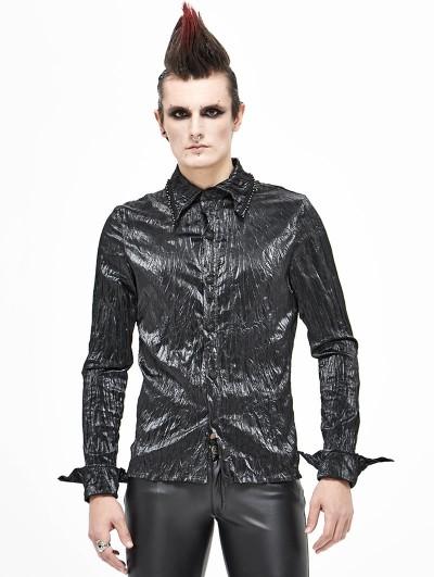 Devil Fashion Black Gothic Long Sleeve Shirt for Men