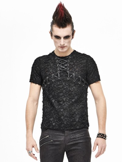 Devil Fashion Black Gothic Punk Short Sleeve Daily Wear T-Shirt for Men