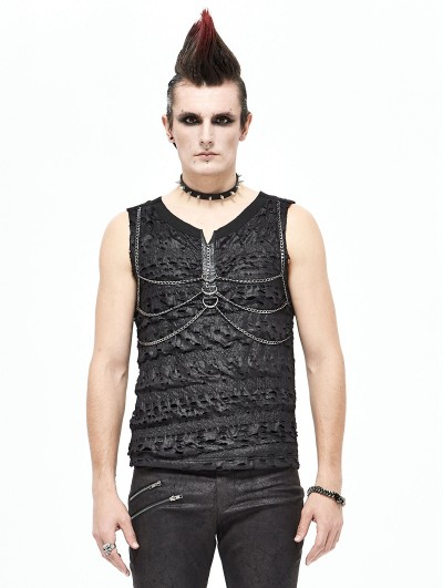Devil Fashion Black Gothic Punk Rock Chain Sleeveless T-Shirt for Men