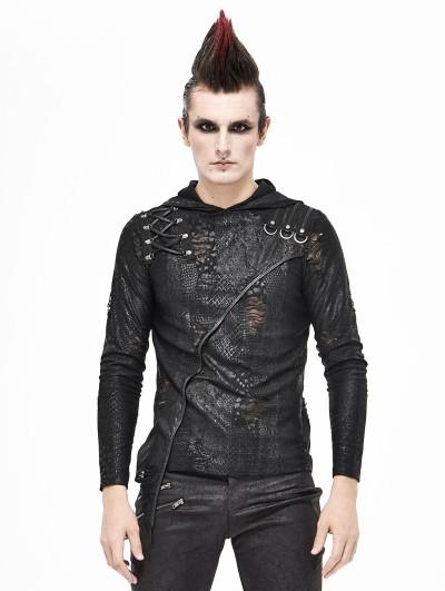 Devil Fashion Black Gothic Punk Long Sleeve Hooded Irregular T-Shirt for Men
