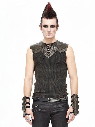 Devil Fashion Brown Gothic Punk Sleeveless T-Shirt for Men