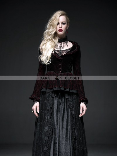 Punk Rave Wine Red Gothic Two-Tone Plain Flocking Mesh Long Sleeves Outfit for Women