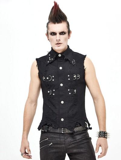Devil Fashion Black Gothic Punk Rock Vest Top for Men