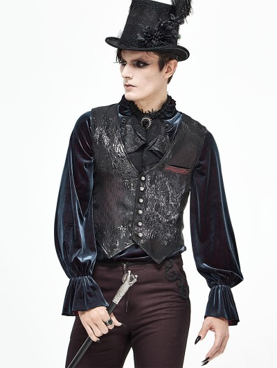 Devil Fashion Black and Dark Red Vintage Gothic Gorgeous Waistcoat for Men