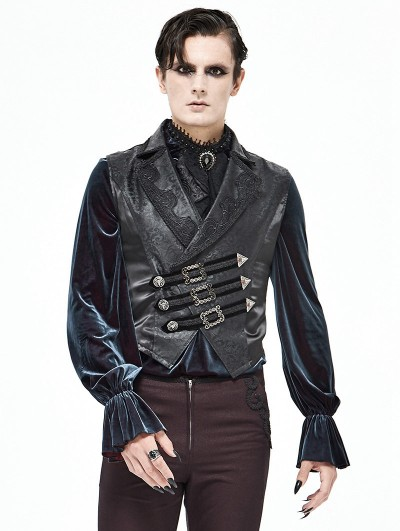 Devil Fashion Black Vintage Gothic Swallow Tail Waistcoat for Men
