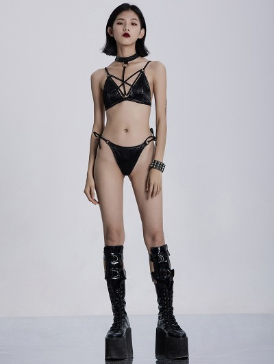 Punk Rave Gothic Pentagram Two-Piece Bikini Set