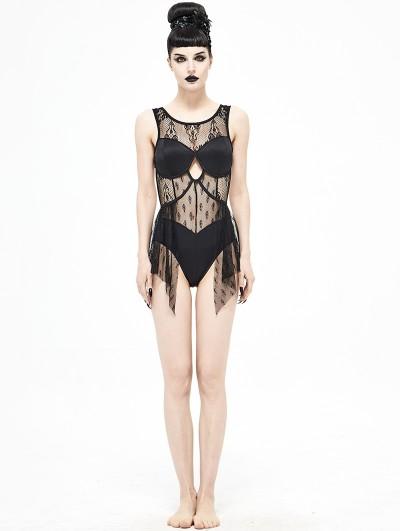Devil Fashion Black Gothic Lace One-Piece Swimsuit