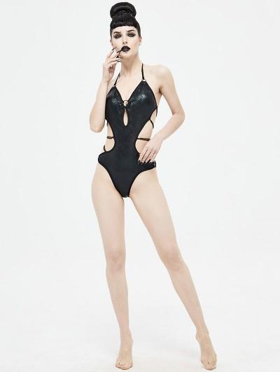 Devil Fashion Black Gothic Sexy One-Piece Swimsuit