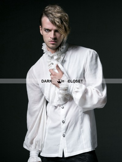 Punk Rave White Gothic Long Sleeves Chiffon Emnossing Blouse for Men
