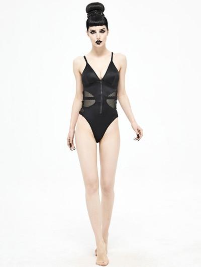 Devil Fashion Black Gothic Punk One-Piece Swimsuit