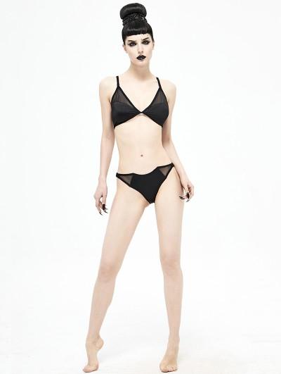 Devil Fashion Black Gothic Bat Two-Piece Bikini Set