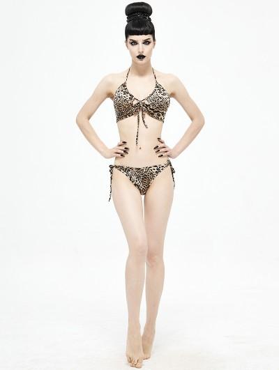 Devil Fashion Leopard Gothic Sexy Two-Piece Bikini Set