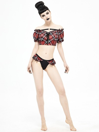 Devil Fashion Black and Red Plaid Gothic Cute Two-Piece Swimsuit Set
