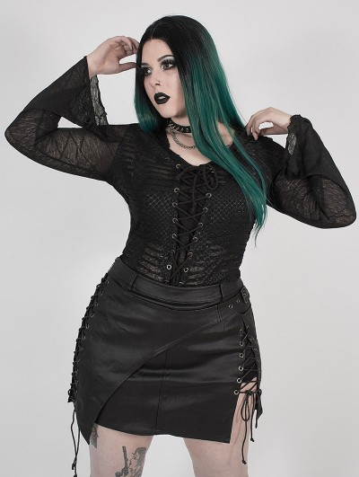Punk Rave Black Gothic Punk Perspective Printed Hooded Plus Size T-Shirt for Women