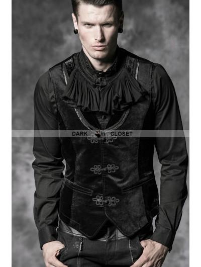 Punk Rave Black Velvet Gothic Vest for Men