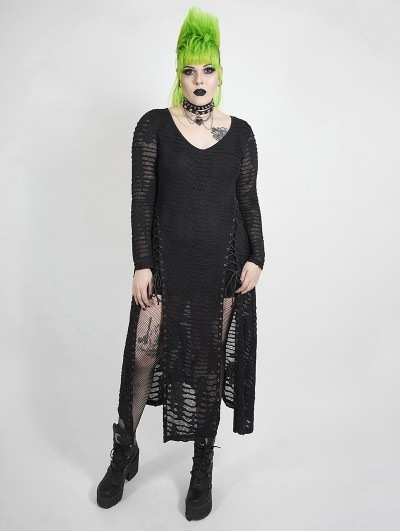 Punk Rave Black Gothic Punk Dark Snake Scale Long Plus Size Dress