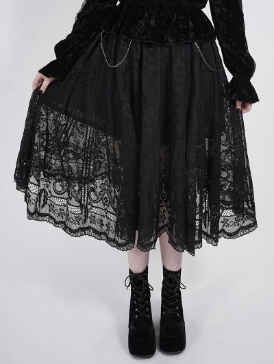 Punk Rave Black Romantic Gothic Lace Plus Size Skirt