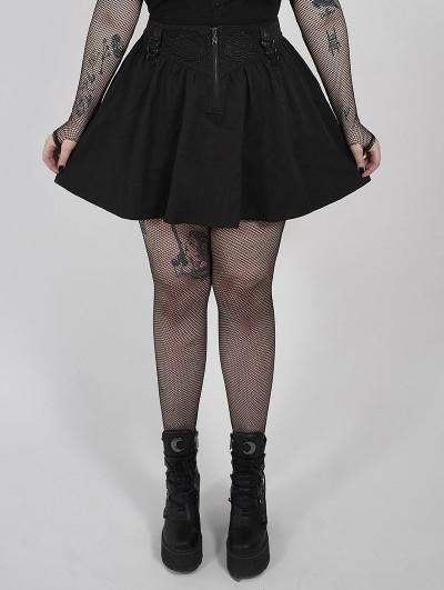 Punk Rave Black Gothic Grunge Short Plus Size Skirt